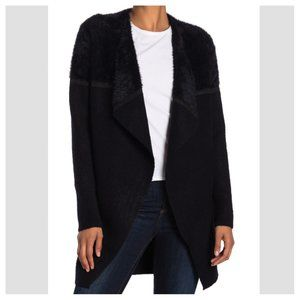 Max Studio black Faux Fur Waterfall Open Cardigan